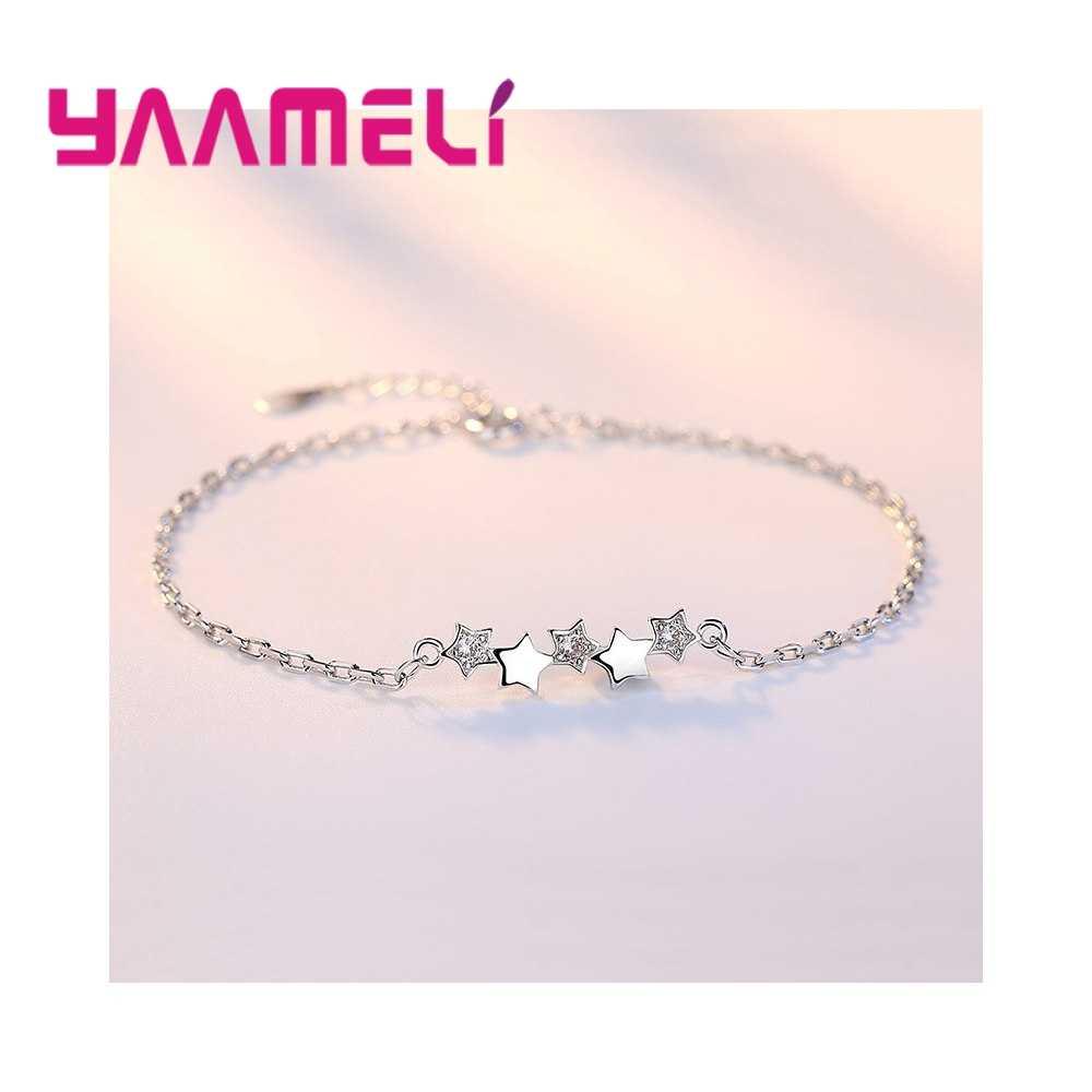 Najlepszy przyjaciel bransoletka moda prostota mała gwiazda Tiny bransoletki prezent Rhinestone urocze biżuteria ze srebra próby 925 dla kobiet