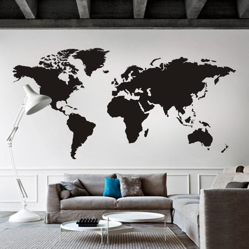 world map atlas pared del vinilo del arte etiqueta de la pared tatuajes de pared para