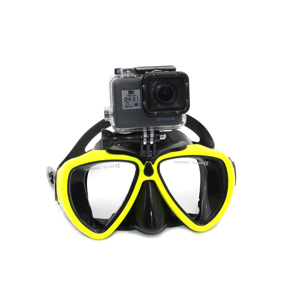 Prix pour Jaune Plongée sous-marine Masque Lunettes avec Mount Adapter pour GoPro Hero 5, Hero 4, Hero 3, Xiaomi Yi Xiaoyi 4 K, SJCAM Accessoires