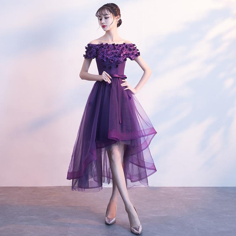 Robe Soiree Longue Femme Purple Off Shoulder Formal   Evening     Dress   Appliques Floral A Line Prom Party Gown Vestido De Festa