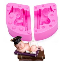 Drum Sleeping Boy Silicone Candle Mold Resin Clay Soap Baby Party Fondant Cake Decorating Tools Chocolate