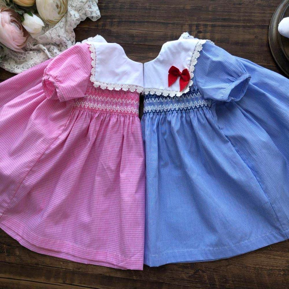 Summer 1 2 3 Years Old Toddler Girl Cute Bow Plaid Dress Newborn Baby Princess Smocked Birthday Wedding Party Dresses For Girls