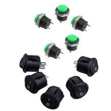 цена на 2 Set: 5 X Momentary Spst NO Green Round Cap Push Button Switch AC 250V/3A + 5 Pcs Spst Black Button On/Off Round Rocker Switc