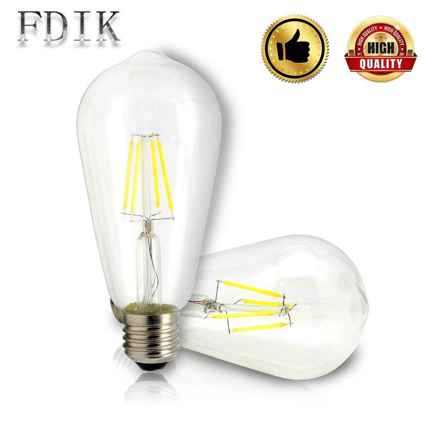 LED Filament Bulb ST64 E27 Retro Edison Bulb LED Lamp 2W/4W/6W/8W Decorative light Christmas 110V 220V Multipurpose LED lights