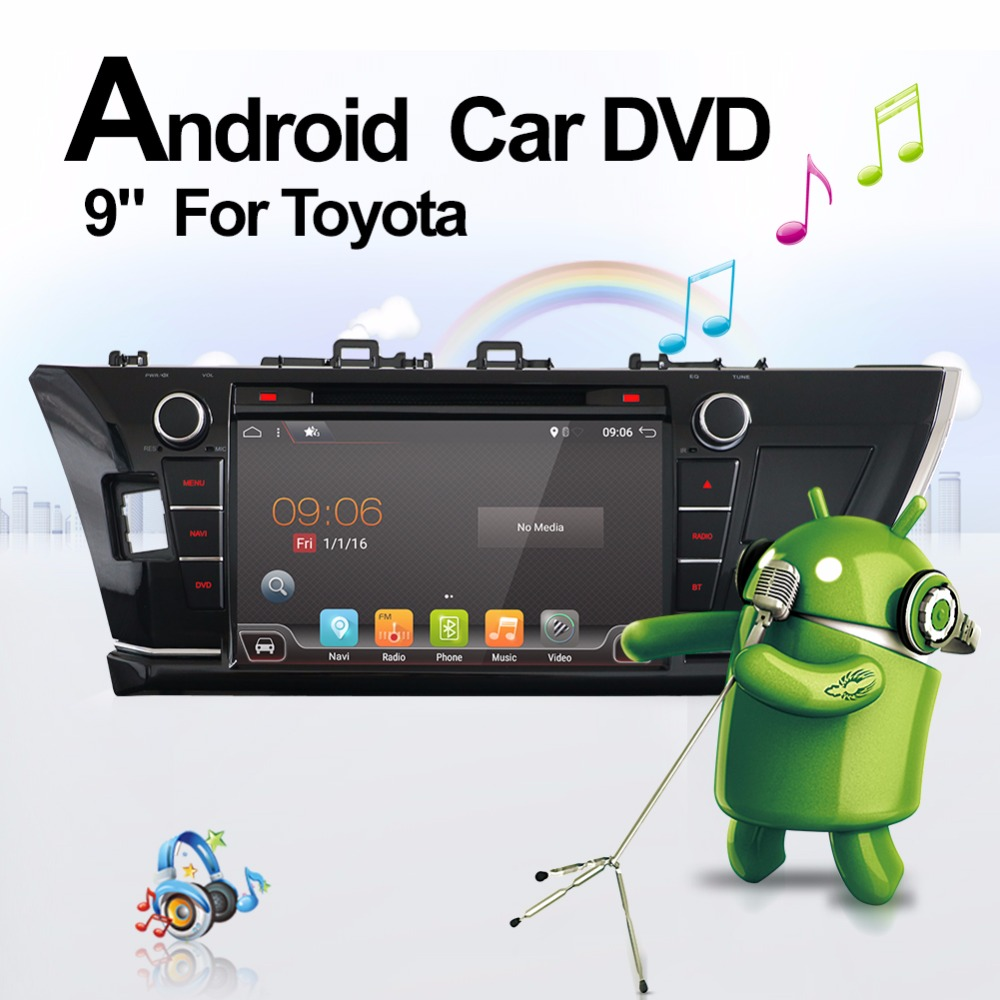 2G+16G 9 2 Din Car Radio Dvd Gps Player Android 7.1 In dash For Toyota Corolla 2013 2014 2015 1024*600