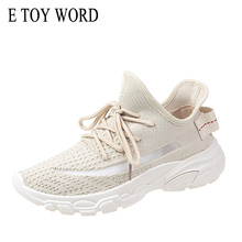 E TOY WORD 2019 Spring Autumn Women Sneakers Fashion Elastic socks shoes flying woven students breathable white women