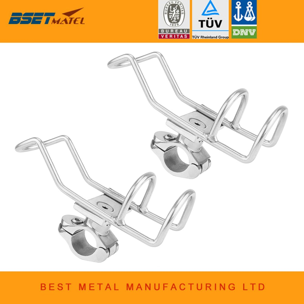 2X Marine Grade Stainless Steel 316 fishing rod rack holder pole bracket support clamp on rail