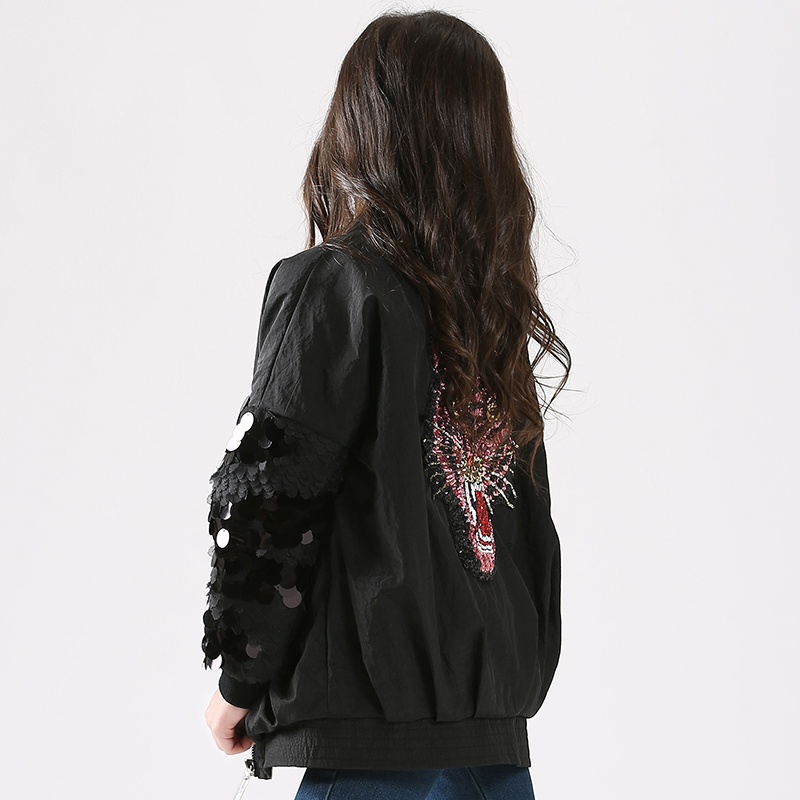 Autumn and winter embroidered sequin jacket western style children girls thick coat jacket big boy 12 years old girl winter 13 sequin embroidered zip up jacket page 5