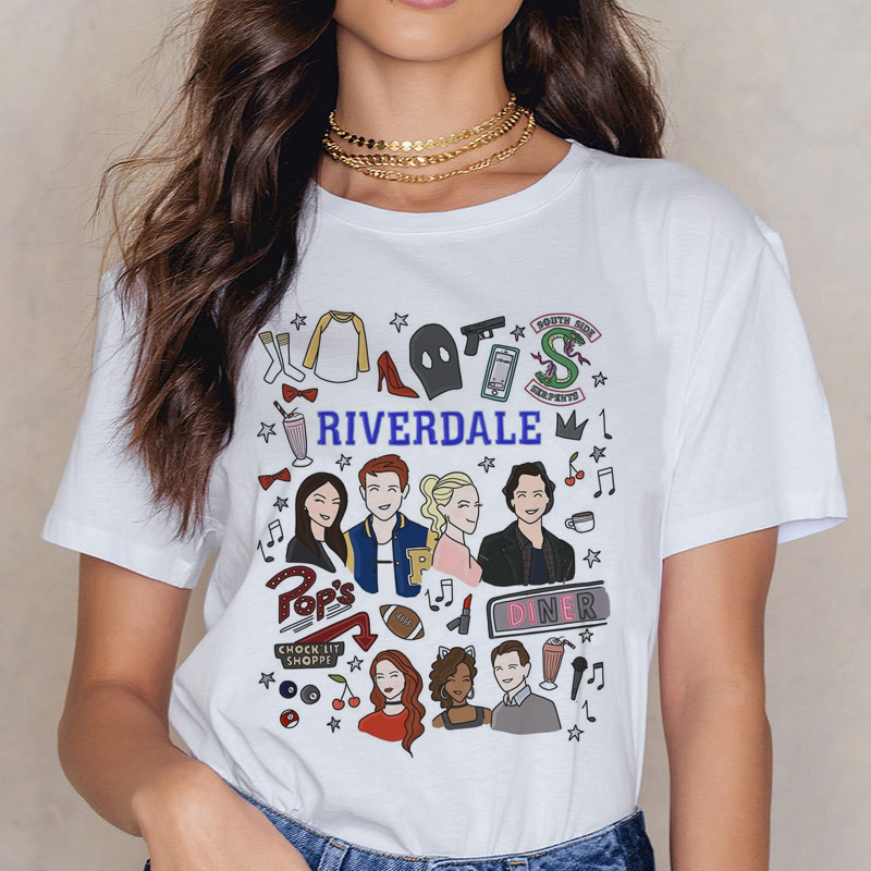 Riverdale Southside T Shirt  Women 90s South Side Serpents Vintage T-shirt Harajuku Ullzang Tshirt Snake Print Top Tees Female