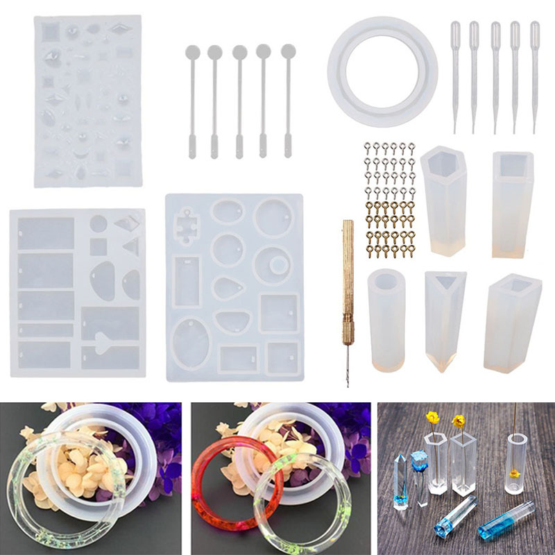 US $13 75 33% OFF|62 Pcs DIY Bracelet Pendant Jewelry Casting Molds  Silicone Mould Kit Crafting Making Tools J2Y-in Clay Molds from Home &  Garden on