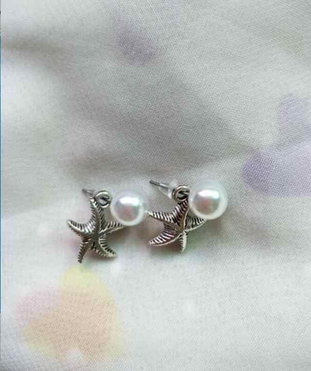 Ed 0703 popular Coreano pendientes de perlas naturales de agua dulce accesorios de estrellas retro de moda después de colgar pendientes de perlas femenina