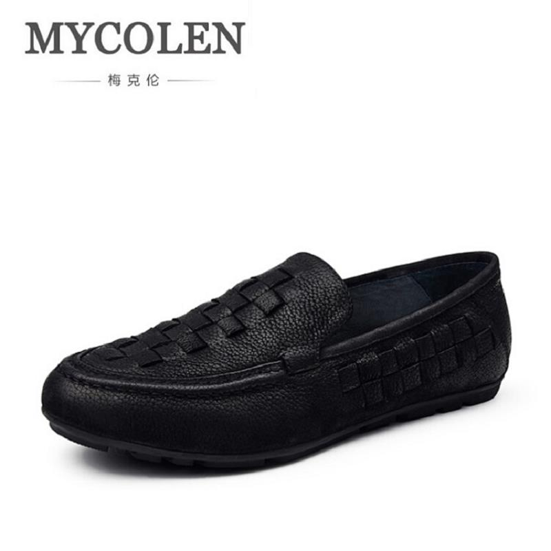 MYCOLEN Mens Casual Shoes Genuine Leather Slip On Brand Summer Shoes Man Soft Comfortable Driving Shoes mocassim masculino new summer breathable men genuine leather casual shoes slip on fashion handmade shoes man soft comfortable flats lb b0009
