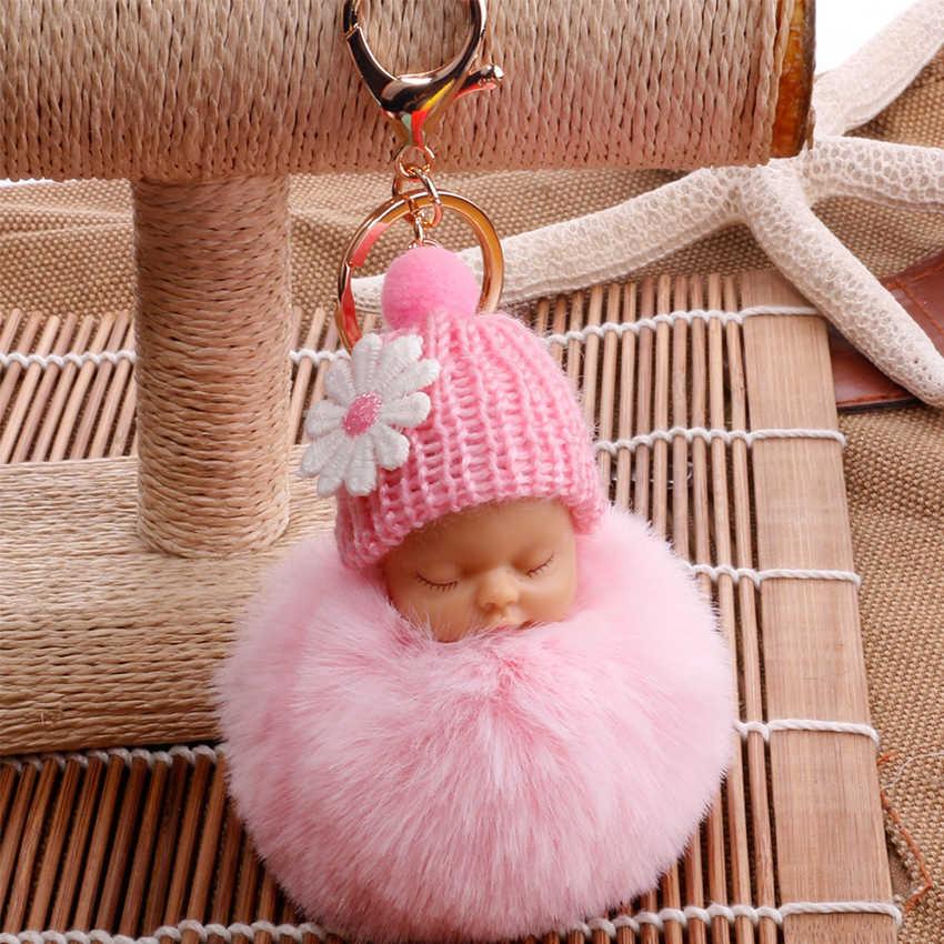 Sono Do Bebê Boneca Chaveiro Flor Pompom Bola de Pêlo de Coelho Fofo porte clef Chaveiro Saco do Anel Chave Do Carro Da Corrente Chave