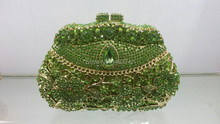 Free shipping !! A15-1,green color fashion top crystal stones ring clutches bags for ladies nice party bag