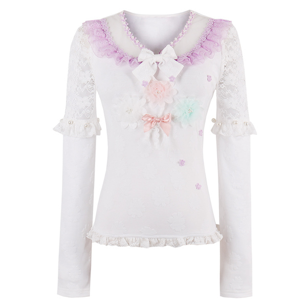 Princess sweet lolita blouse Candy rain Japanese sweet  shirt long sleeved chiffon shirt female backing hollow jacket C22AB7014