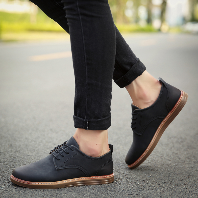 fashion leather casual shoes men comfortable leisure moccasins cheap dress male footwear work elegant boy oxford shoes for m (46)