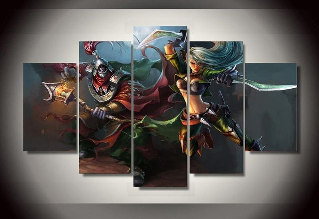 No Frame Wall Art Canvas Painting 5Pcs League of Legends Game Poster ...