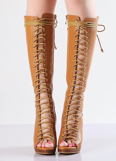 Real Photo Women Brown Peep Toe Crossed Tied Knee High Boots Autumn Fashion Size Zipper Hollow Out High Square Heel Shoes