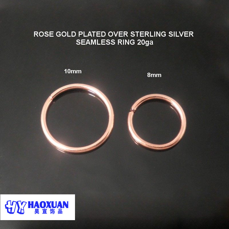 925 Sterling silver rose gold nose ring without ball 088mm10mm