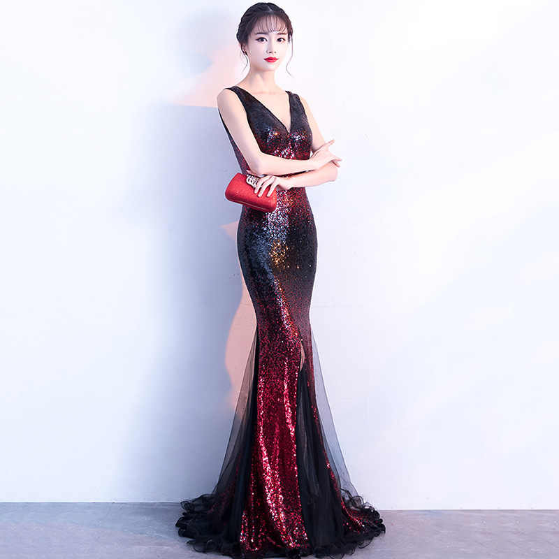 61fa2f0110 Gold & Blue Sequined V Neck Sleeveless Mermaid Formal Gown Luxury Party  Dress Long Club Dresses For Women Vestidos Verano 2018