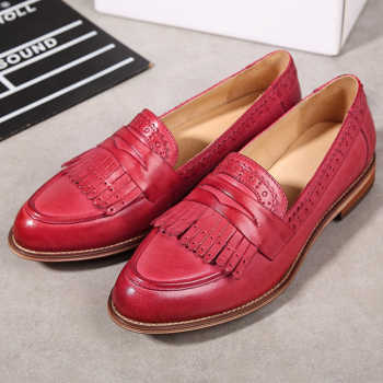 100% Genuine sheepskin leather brogue yinzo ladies flats shoes vintage handmade sneaker oxford shoes for women black beige red