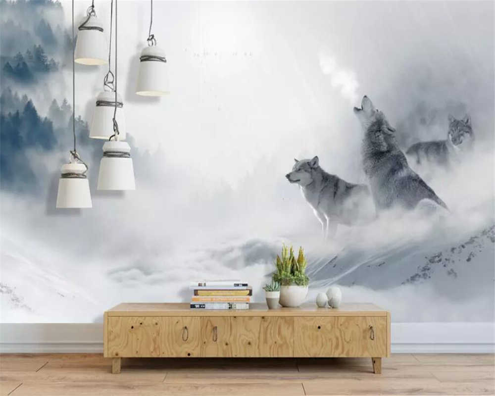 beibehang Custom Wall Wallpaper Nature Fog Ink Forest Snow scene Bar Cafe KTV Background wall papers home decor carta da parati