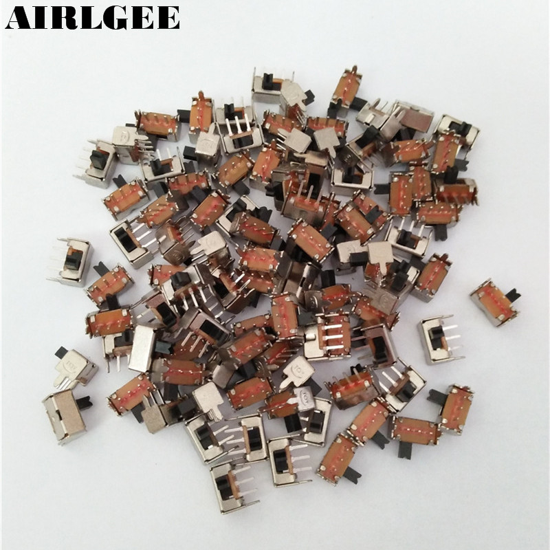 100Pcs AC 250V 3A 2 Position 3Pins SPDT Mini PCB Mount Right Angle Slide Switch ac 250v 2a on on 2 way 1p2t spdt solder 3 terminals pcb mount toggle switch