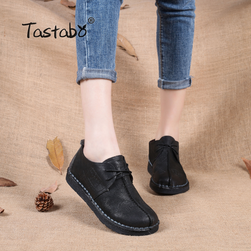 Tastabo 2017 Fashion Loafers Comfortable Women Shoes Casual Work Driving Shoes Women Flats Genuine Leather Flat Plus Size 12