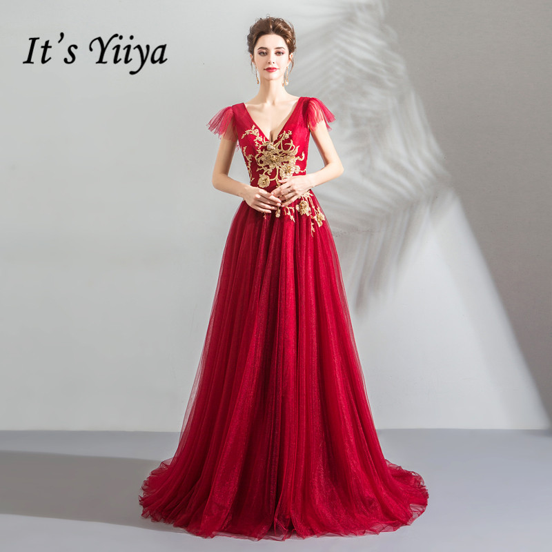 It's YiiYa   Evening     Dress   Gold Embroidery Flowers Crystal Beading Wedding Party   Dresses   V-neck Wine Red Long Formal Gown E160