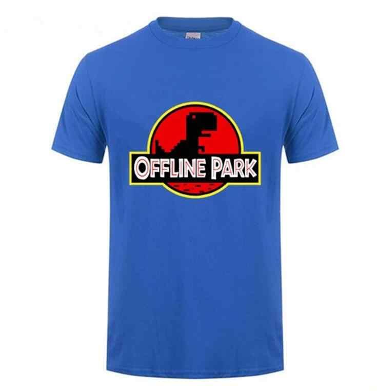 Novidade Paródia Parque Dos Dinossauros No offline internet T shirt homens dino tshirt engraçado Jurassic parque dos homens t-shirt Do Geek Moderno topos