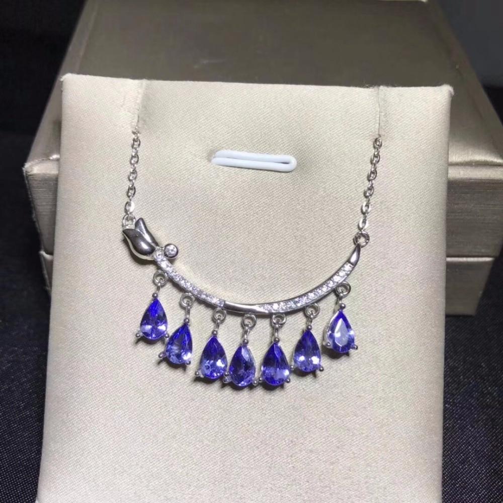 Uloveido Women Natural Tanzanite Gemstone Pendant Necklace Women 925 Sterling Silver Anniversary Flower Necklace Pendant FN274