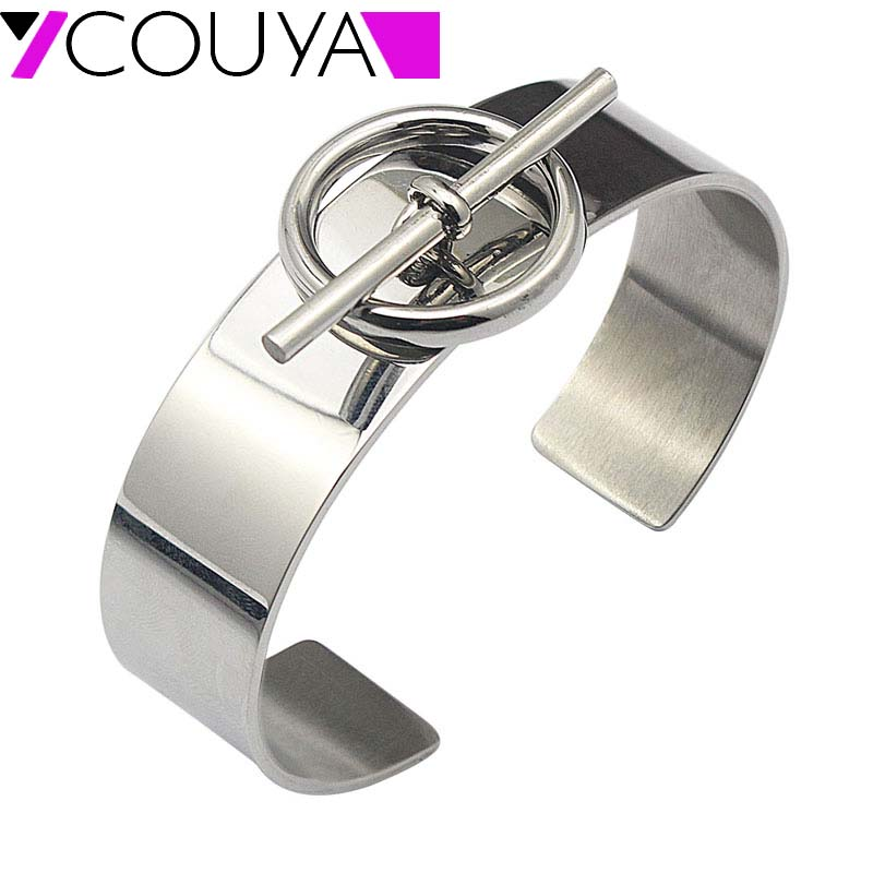 Venta caliente de acero inoxidable de bloqueo de nudo brazalete pulseras para mujeres plata estilo europeo pulseras y brazaletes Bijoux Femme