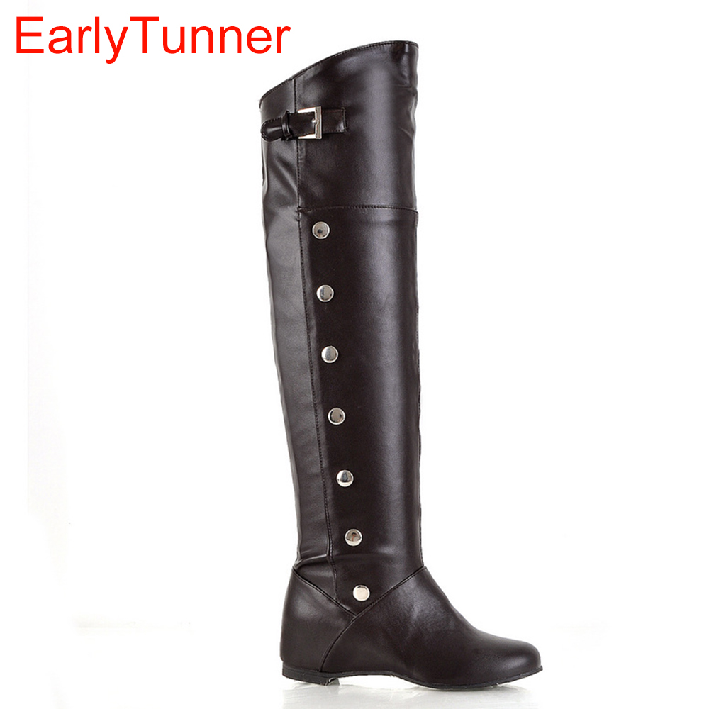 Sexy Black Brown White Women Over The Knee Thigh High Ridding Boots Ladies Winter Shoes Rivets A612 Plus Big Size 13 30 43 50-In Over-The-Knee -9509