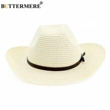 BUTTERMERE Cowboy Straw Hat For Men White Sombreros Sun Hats Unisex Wide Brim Uv Beach Women Spring Summer Classic Caps