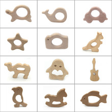 Cartoon anime wooden Teether Silicone Round Beads Food Grade Silicone Wooden Shape Baby Nursing baby toys