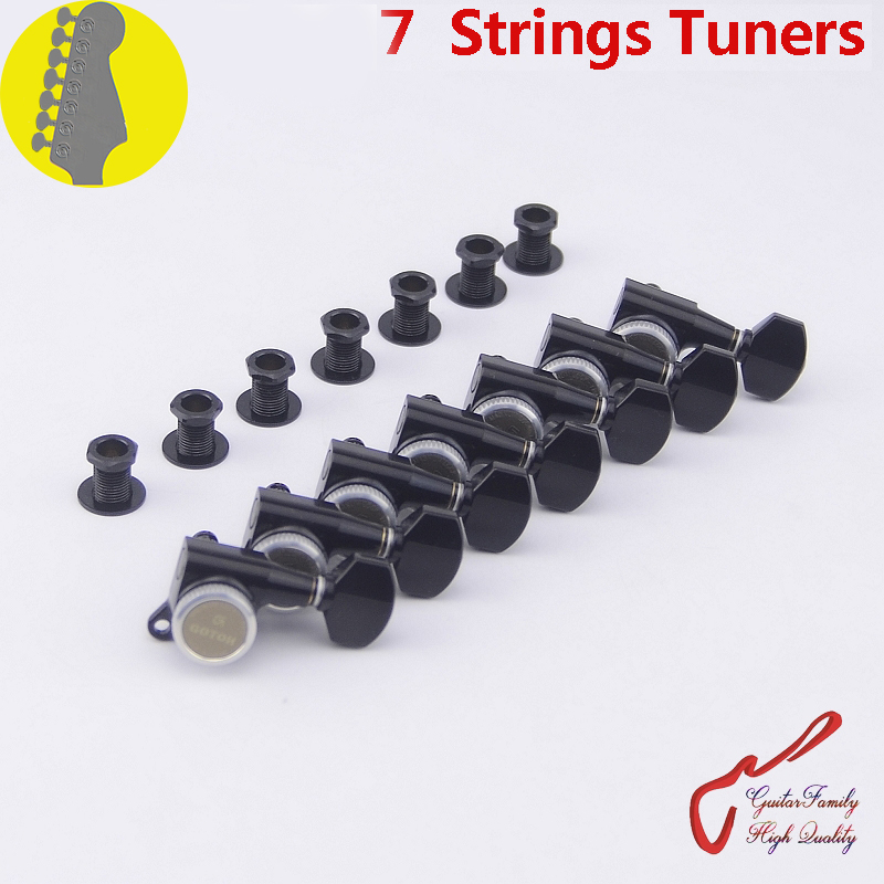 Genuine Original 7 In-line GOTOH SG381-07-MGT 7 Strings Guitar Locking Machine Heads Tuners ( Black ) MADE IN JAPAN wilkinson deluxe wj55s 6 in line machine heads tuners black new guitar parts