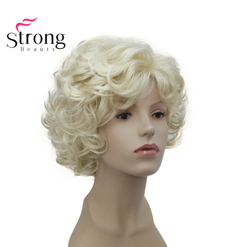 StrongBeauty Short Soft Shaggy Layered Cute Blonde Curly Wavy Short Synthetic Women's Daily Full Wig