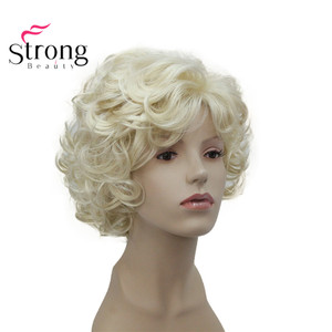 Image 1 - StrongBeauty Short Soft Shaggy Layered Cute Blonde Curly Wavy Short Synthetic Womens daily full Wig
