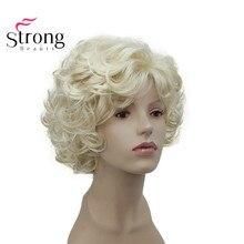 StrongBeauty peluca completa de diario para mujer, corta, suave, peluda, rizada, rubia, ondulada, corta