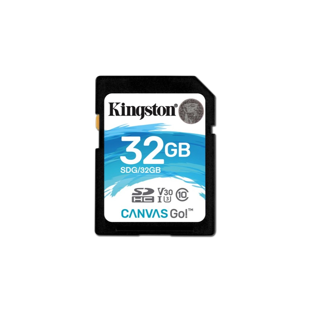 Kingston Technology Canvas Go!, 32 GB, SDHC, Class 10, UHS-I, 90 MB/s, Black, Blue, White