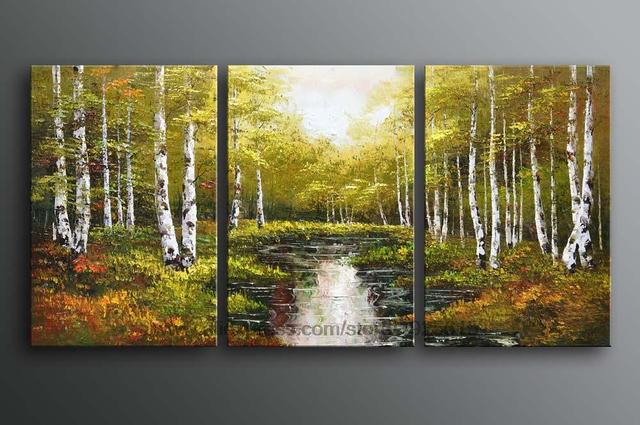 Painting Oil Canvas Ideas Realistic Ab 3 Pcs Discount Huge Art Impressionist Forest Tree