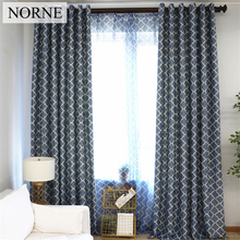 NORNE Modern Geometric Pattern Window Treatment Blackout Curtains Drapes for Bedroom Living Room Kitchen Door Blinds Curtain norne hollow star thermal insulated blackout curtains for living room bedroom window curtain blinds stitched with white voile