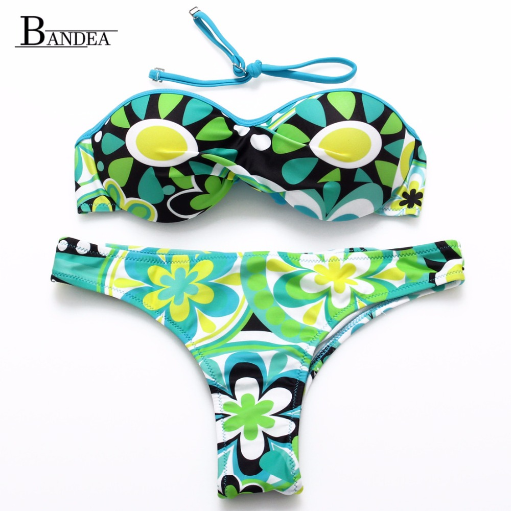 2016 Women Halter Bandeau Push UP Swimwear Sexy Floral Printed Bikini Beachwear Swimsuit Biquini bikinis Set
