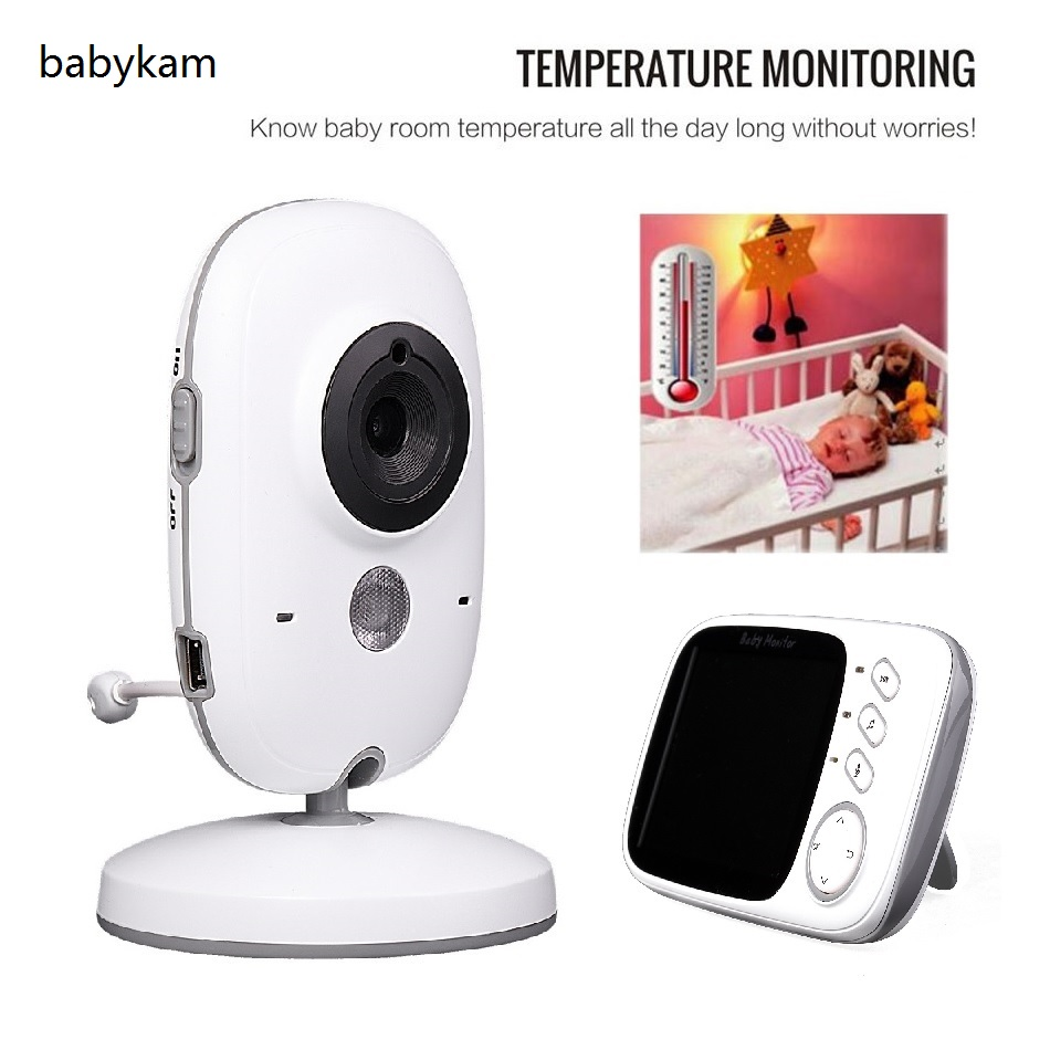 Babykam video nanny baby monitors 3.2 inch LCD IR Night vision baby intercom Lullabies Temperature monitor fetal doppler nanny