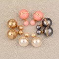 2017 New Charm Women Rhinestone Pink & Gold Color Double Ball Earrings Stud Ear  Yellow Gold Plated Es644