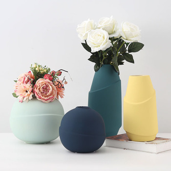 Nordic ceramic vase living room simple flower dry flowers wine cabinet decorations round vases ornament pure color home decor