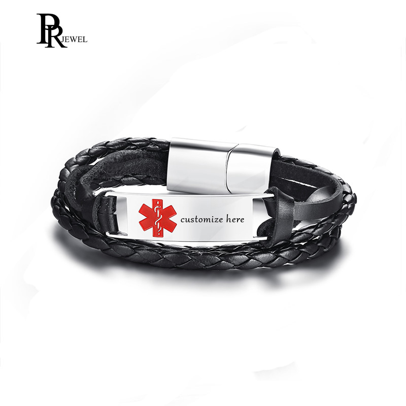 0d77df9ec450f Free Engraved Message Stainless Steel Medical Alert ID Braided Leather Rope Bracelet  Personalized Gift for Boyfriend Men-in ID Bracelets from Jewelry ...