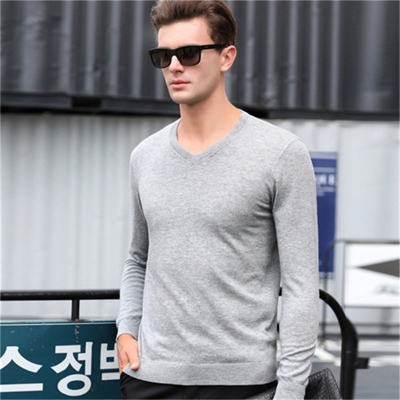Man s Pure Cashmere font b Sweaters b font Blend Winter Autumn Slim Fit V Neck