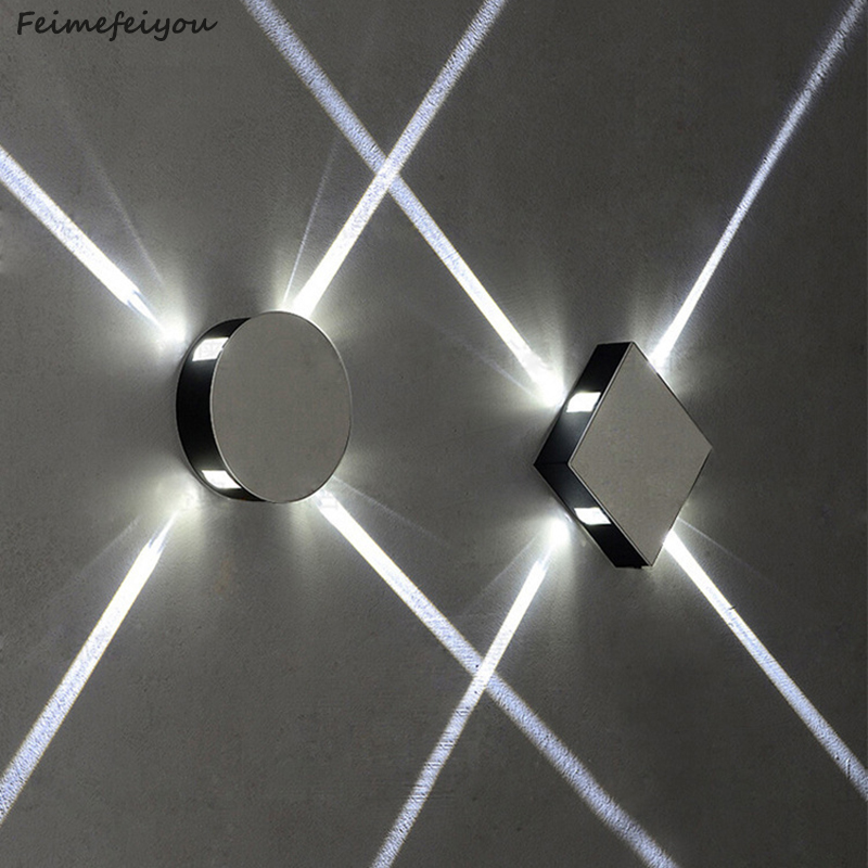 Feimefeiyou Modern creative aisle round square wall lamp bedroom bedside corridor staircase hotel project LED indoor light modern fashion creative k9 crystal wifi design led 9w wall lamp for living room bedroom aisle corridor bathroom 80 265v 2063
