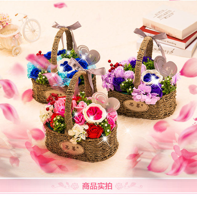 Simulation roses soap flower soap flower gift box bouquet creative ...